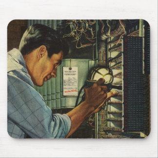 Vintage Business Electrician Circuit Breaker Panel Mouse Mat