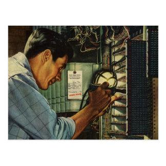 Vintage Business Electrician Circuit Breaker Panel Postcard