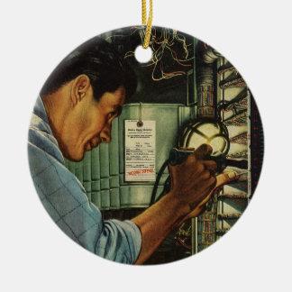 Vintage Business Electrician Circuit Breaker Panel Round Ceramic Decoration