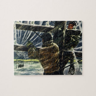 Vintage Business Electrician Working in Snow Storm Jigsaw Puzzle