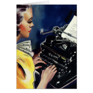 Vintage Business Executive Secretary Typing Letter Card