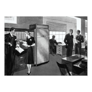 Vintage Business, Executives in an Office 13 Cm X 18 Cm Invitation Card