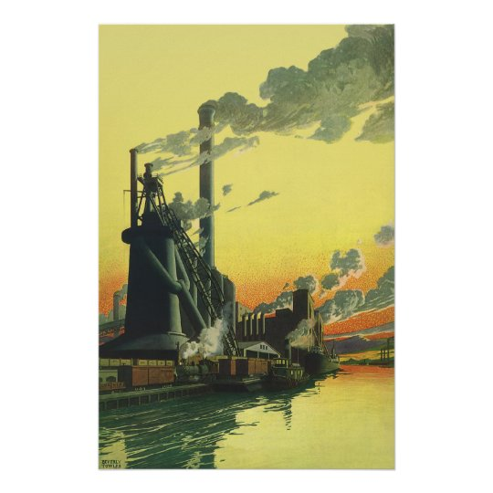 Vintage Business Factory, Manufacturing on a Dock Poster
