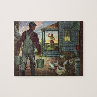 Vintage Business, Farm with Farmer and Chickens Jigsaw Puzzle