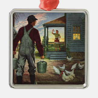 Vintage Business, Farm with Farmer and Chickens Silver-Colored Square Decoration