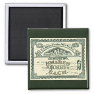 Vintage Business Finance Capital Stock Certificate Square Magnet