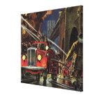 Vintage Business, Fire Trucks Firemen Firefighters Canvas Print
