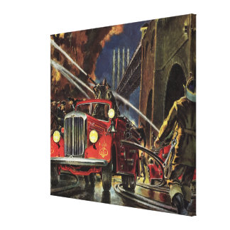 Vintage Business, Fire Trucks Firemen Firefighters Canvas Print