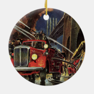 Vintage Business, Fire Trucks Firemen Firefighters Christmas Ornament