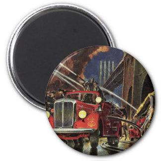 Vintage Business, Fire Trucks Firemen Firefighters Magnet