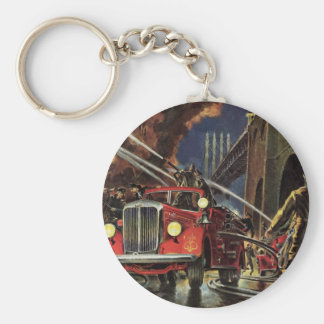 Vintage Business, Firemen Firefighters Fire Trucks Basic Round Button Key Ring