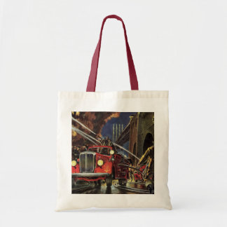 Vintage Business, Firemen Firefighters Fire Trucks Budget Tote Bag