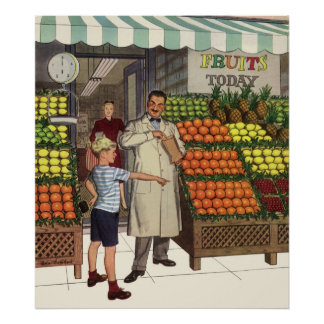 Vintage Business, Fruit Stand with Grocer and Boy Poster