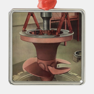Vintage Business, Generator with Giant Turbine Silver-Colored Square Decoration