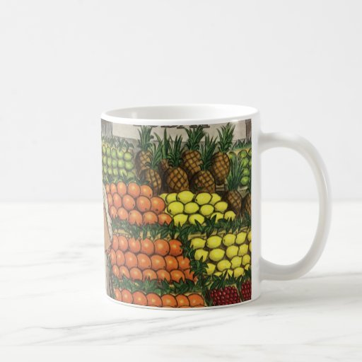 Vintage Business Grocer and Boy by the Fruit Stand Basic White Mug