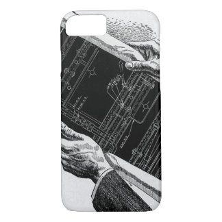 Vintage Business, Hands w Architectural Blueprints iPhone 8/7 Case