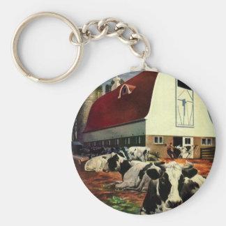 Vintage Business, Holstein Milk Cows on Dairy Farm Basic Round Button Key Ring