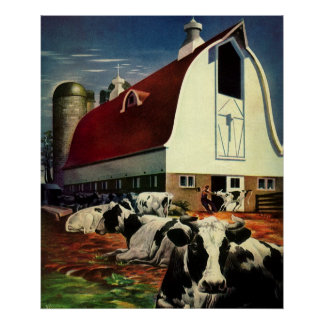 Vintage Business, Holstein Milk Cows on Dairy Farm Poster