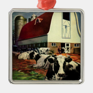 Vintage Business, Holstein Milk Cows on Dairy Farm Silver-Colored Square Decoration