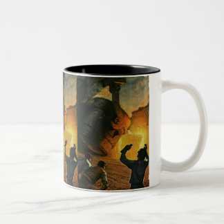 Vintage Business Industry, Steel Manufacturing Two-Tone Mug