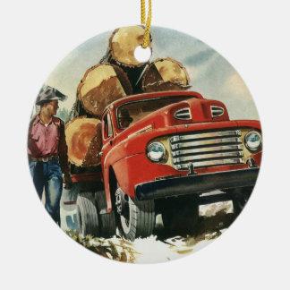 Vintage Business, Logging Truck with Lumberjacks Christmas Ornament
