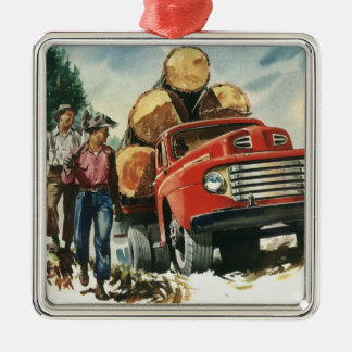 Vintage Business, Logging Truck with Lumberjacks Silver-Colored Square Decoration