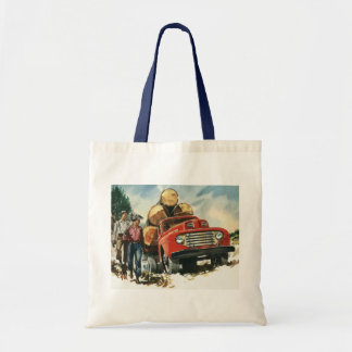 Vintage Business, Lumberjacks with Logging Truck Budget Tote Bag