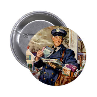 Vintage Business, Mailman Delivering Mail Letters 6 Cm Round Badge