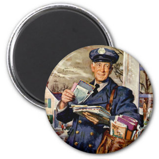 Vintage Business, Mailman Delivering Mail Letters 6 Cm Round Magnet