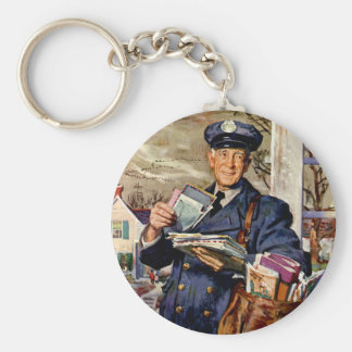 Vintage Business, Mailman Delivering Mail Letters Basic Round Button Key Ring