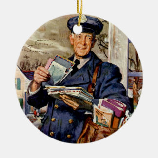 Vintage Business, Mailman Delivering Mail Letters Christmas Ornament