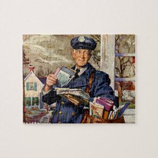 Vintage Business, Mailman Delivering Mail Letters Jigsaw Puzzle