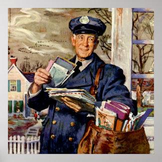 Vintage Business, Mailman Delivering Mail Letters Poster