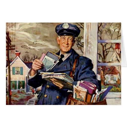 Vintage Business, Mailman Mail Carrier Delivering Greeting Cards