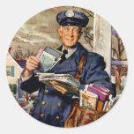 Vintage Business, Mailman Mail Carrier Delivering Round Sticker