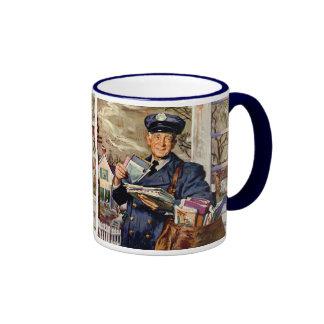 Vintage Business, Mailman Mail Delivering Letters Ringer Mug