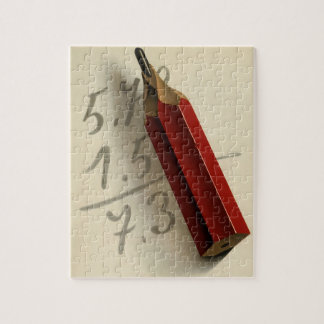 Vintage Business, Math Equation with Red Pencil Jigsaw Puzzle
