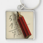 Vintage Business, Math Equation with Red Pencil Key Chain