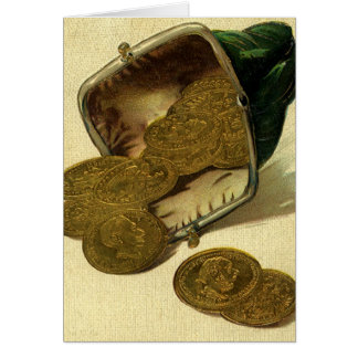 Vintage Business Money Currency, Gold Coins Purse Greeting Cards