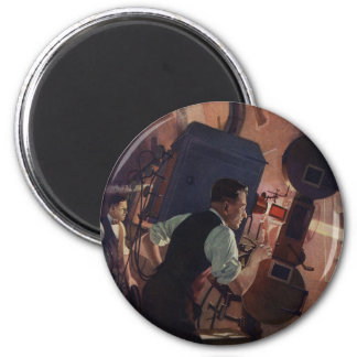 Vintage Business, Movie Theater Projectionist 6 Cm Round Magnet