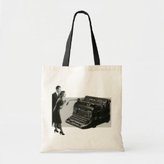 Vintage Business Office, Giant Manual Typewriter Budget Tote Bag