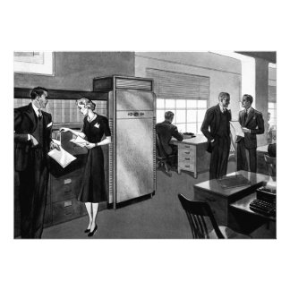 Vintage Business Office Scene with Executives Announcements