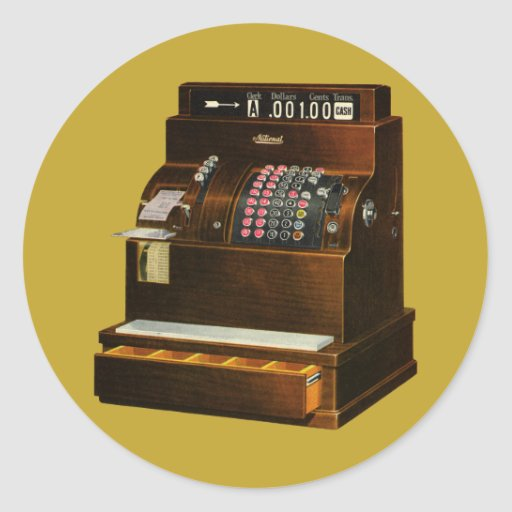 Vintage Business, Old Fashioned Cash Register Stickers