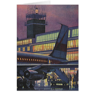 Vintage Business Passengers on Airplane at Airport Card