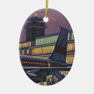 Vintage Business Passengers on Airplane at Airport Christmas Ornament