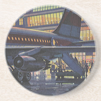 Vintage Business Passengers on Airplane at Airport Coaster