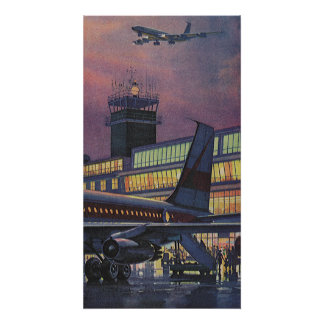 Vintage Business Passengers on Airplane at Airport Poster