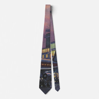 Vintage Business Passengers on Airplane at Airport Tie