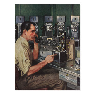 Vintage Business, Pay Phone Telephone Repairman Postcard