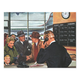 Vintage Business, People at Airline Ticket Counter 11 Cm X 14 Cm Invitation Card